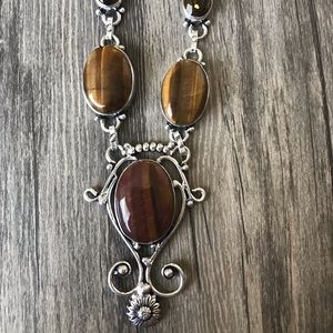 handcrafted in India Jewelry - Tiger Eye with Smokey Topaz .925 Necklace